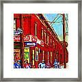 When We Were Young - Hockey Game At Piche's - Montreal Memories Of Goosevillage Framed Print
