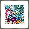 Whimsical Floral Flowers Dragonfly Art Colorful Uplifting Painting By Megan Duncanson Framed Print