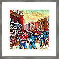 Whimsical Hockey Art Snow Day In Montreal Winter Urban Landscape City Scene Painting Carole Spandau Framed Print by Carole Spandau