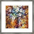 White Flowers - Palette Knife Oil Painting On Canvas By Leonid Afremov Framed Print