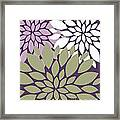 White Violet Green Peony Flowers Framed Print