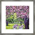 White Whicker Chairs Framed Print by Linda Vaughon