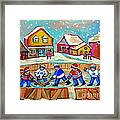 Winter Fun At Hockey Rink Magical Montreal Memories Rink Hockey Our National Pastime Falling Snow   Framed Print