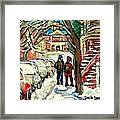Winter Scene Painting Rows Of Snow Covered Cars First School Day After Christmas Break Montreal Art Framed Print