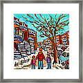 Winter Walk Montreal Paintings Snowy Day In Verdun Montreal Art Carole Spandau Framed Print