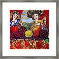 Women fruit and music Framed Print
