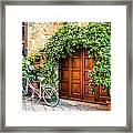 Wooden Gate With Plants In An Ancient Framed Print