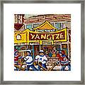 Yangtze Restaurant With Van Horne Bagel And Hockey Framed Print