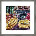 Yello Sofa Framed Print by Linda Vaughon