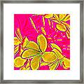 Yellow Flowers On Pink Background Framed Print