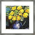 Yellow Roses In Blue Vase Framed Print