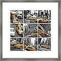 Yellow Taxis Collage Framed Print