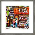 Yitzs Deli Toronto Restaurants Cafe Scenes Paintings Of Toronto Landmark City Scenes Carole Spandau  Framed Print