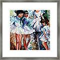 Young Ballerinas - Palette Knife Oil Painting On Canvas By Leonid Afremov Framed Print
