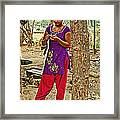 Young Tharu Village Woman In Traditional Nepali Clothing-nepal  Framed Print