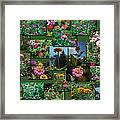 Zinnias Collage Rectangle Framed Print