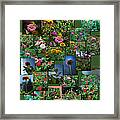 Zinnias Collage Square Framed Print
