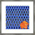 Blue Bench And Autumn Leaves Framed Print