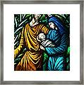 Holy Family Stained Glass Framed Print