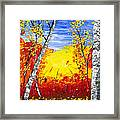 White Birch Tree Abstract Painting In Autumn Framed Print