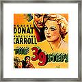 39 Steps, The, Robert Donat, Madeleine Framed Print