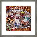 A Decorated Hindu Prayer Thaali With Wax Candles Oil Lamps Framed Print