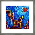 Abstract Cityscape Art Original City Painting The Lost City II By Madart Framed Print