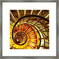 Abstract Golden Nautilus Spiral Staircase Framed Print