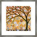 Abstract Modern Tree Landscape Dreams Of Gold By Amy Giacomelli Framed Print