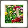 American Goldfinch In The Garden Framed Print