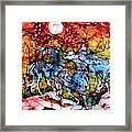 Appaloosas On A Fiery Night Framed Print by Carol Law Conklin
