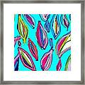 Aquamarine Leaves Framed Print by Rosana Ortiz