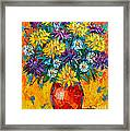 Autumn Flowers Gorgeous Mums - Original Oil Painting Framed Print