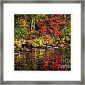 Autumn Forest And River Landscape Framed Print