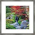 Autumn Waterfall - Digital Art Framed Print