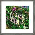 Bench Among The Foxgloves Framed Print by Julie Dant