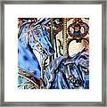 Blue Carousel Merry Go Round Horses Framed Print