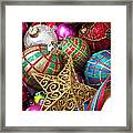 Box Of Christmas Ornaments With Star Framed Print