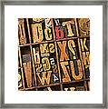 Box Of Old Wooden Type Setting Blocks Framed Print