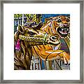 Carousal Camel And Tiger On A Merry-go-round Framed Print