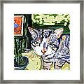 Cat And Mouse Friends Framed Print
