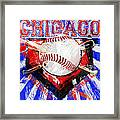 Chicago Baseball Abstract Framed Print by David G Paul