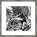 Chick-a-dee  Block Print Framed Print by Ellen Miffitt