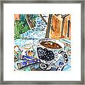 Coffee Break In Elos In Crete Framed Print