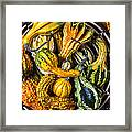 Colorful Gourds In Basket Framed Print