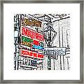 Colorful Neon Sign On Bourbon Street Corner French Quarter New Orleans Colored Pencil Digital Art Framed Print