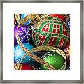 Colorful Ornaments With Ribbon Framed Print
