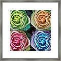 Colorful Rose Spirals Framed Print