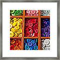 Compartments Full Of Buttons Framed Print by Garry Gay
