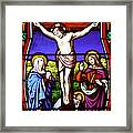 Cross Stained Glass Framed Print
